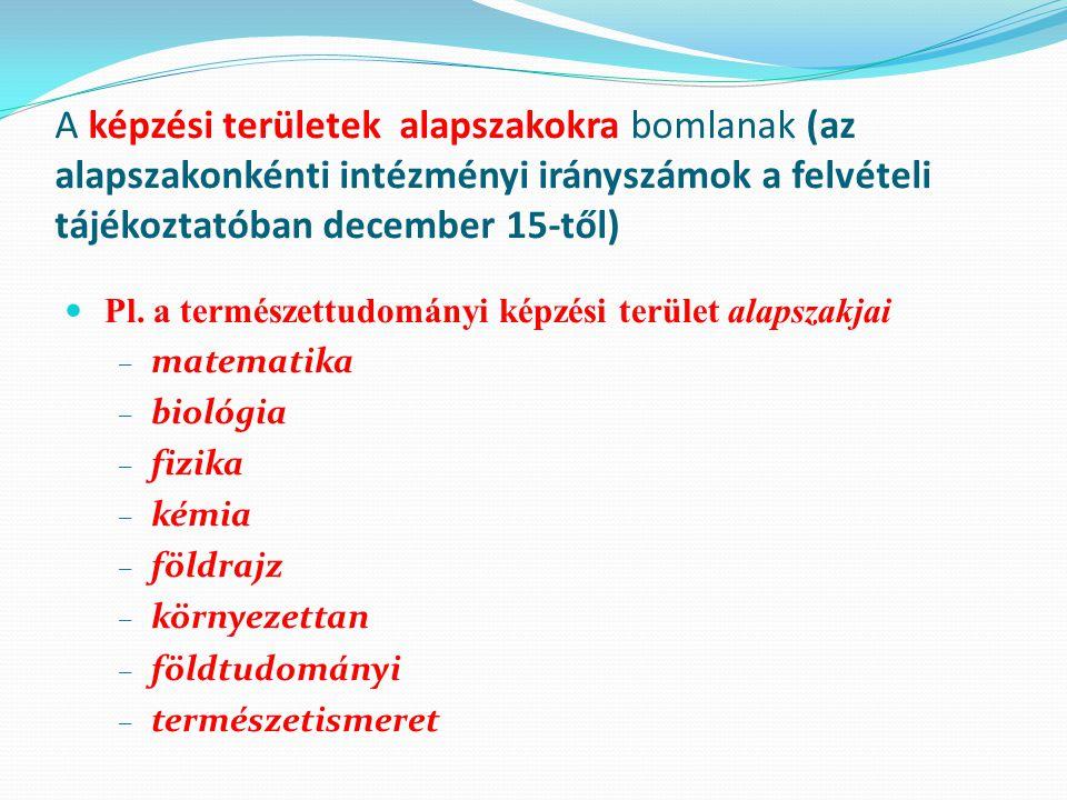 A képzési területek alapszakokra bomlanak (az alapszakonkénti intézményi irányszámok a felvételi tájékoztatóban december 15-től)