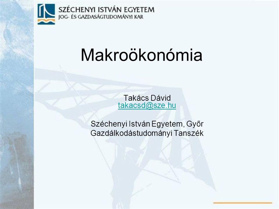 Makroökonómia Takács Dávid takacsd@sze.hu