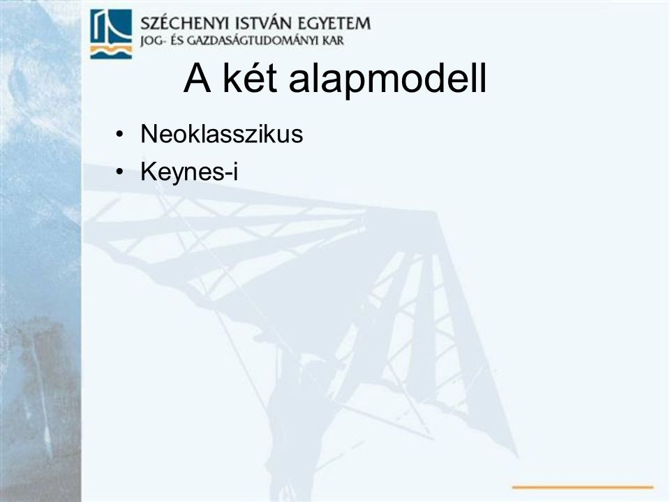 A két alapmodell Neoklasszikus Keynes-i