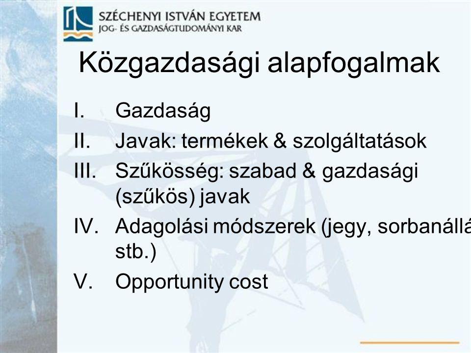 Közgazdasági alapfogalmak
