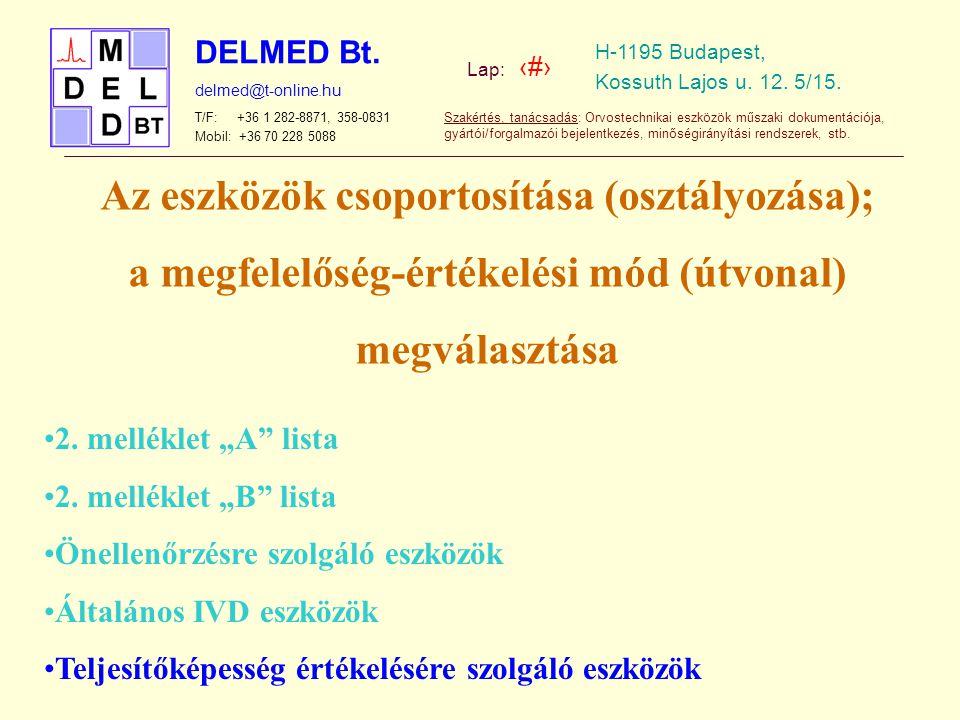 Az eszközök csoportosítása (osztályozása);