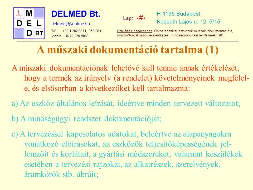 A műszaki dokumentáció tartalma (1)