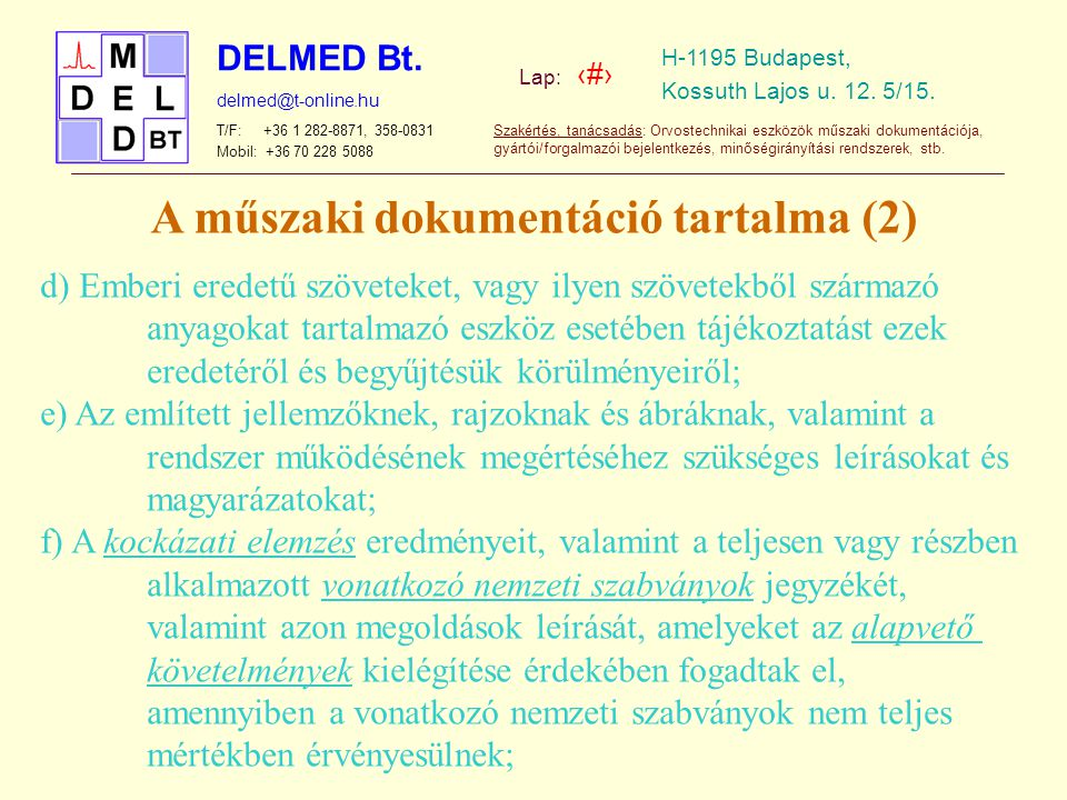 A műszaki dokumentáció tartalma (2)