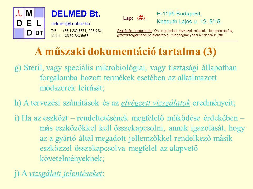 A műszaki dokumentáció tartalma (3)