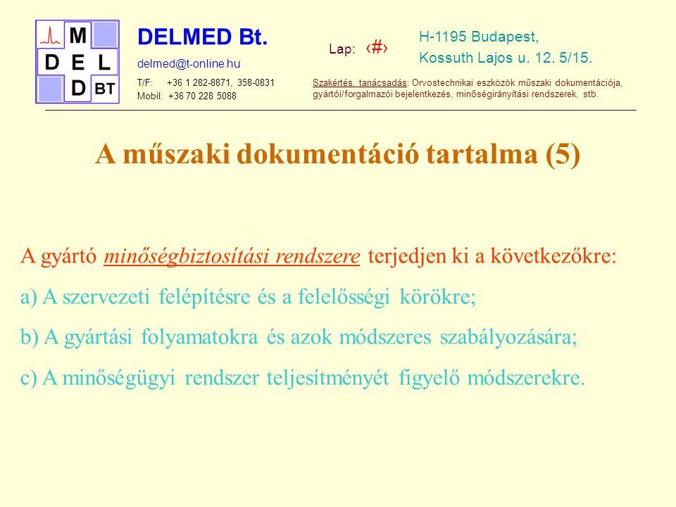 A műszaki dokumentáció tartalma (5)