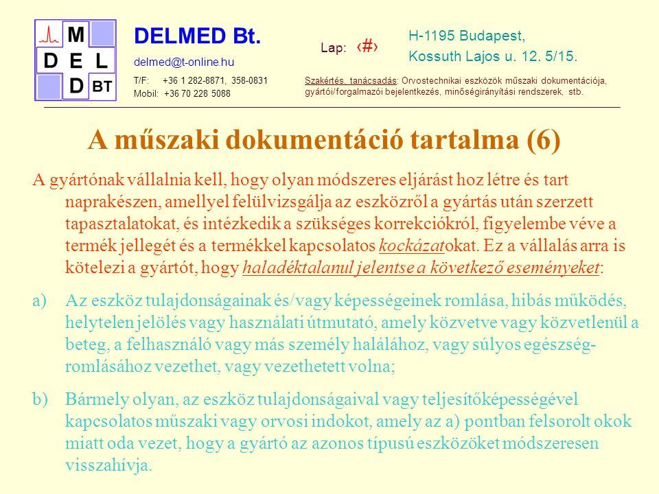 A műszaki dokumentáció tartalma (6)