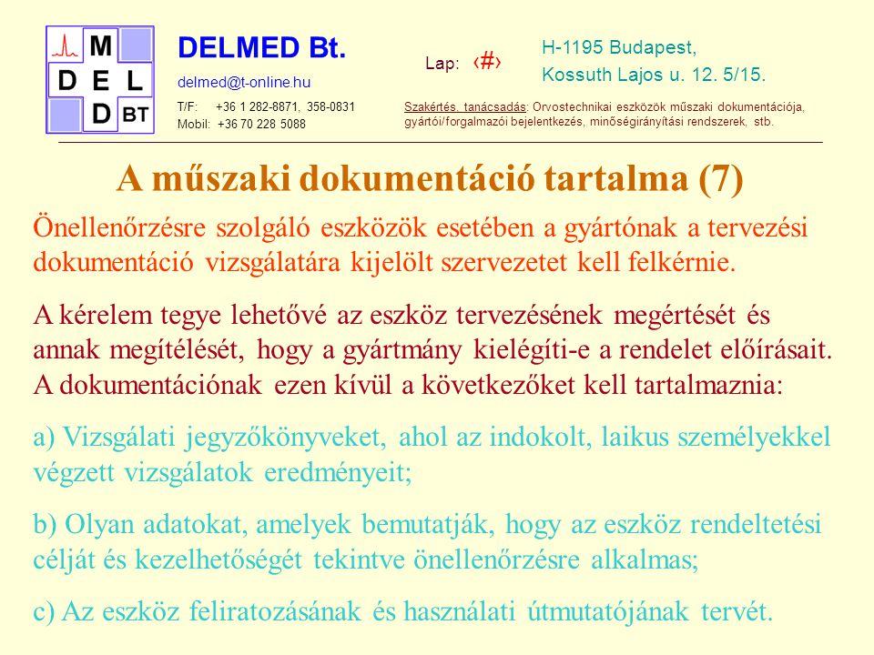 A műszaki dokumentáció tartalma (7)