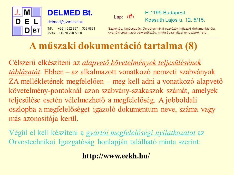 A műszaki dokumentáció tartalma (8)