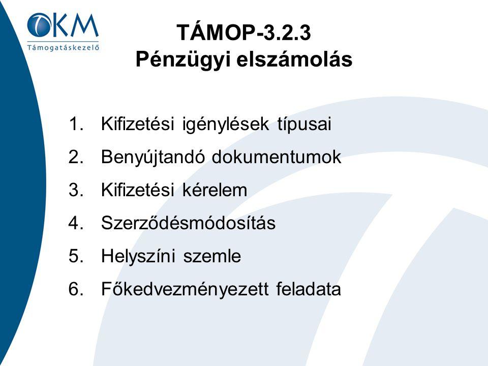 TÁMOP-3.2.3 Pénzügyi elszámolás