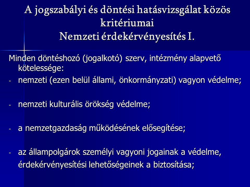 A jogszabályi és döntési hatásvizsgálat közös kritériumai Nemzeti érdekérvényesítés I.
