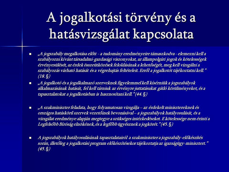 A jogalkotási törvény és a hatásvizsgálat kapcsolata