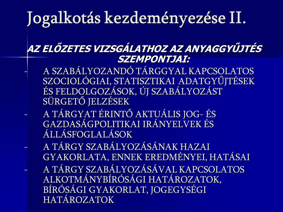 Jogalkotás kezdeményezése II.