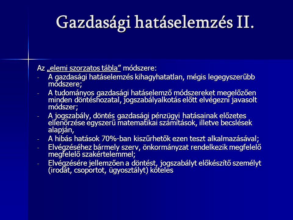 Gazdasági hatáselemzés II.