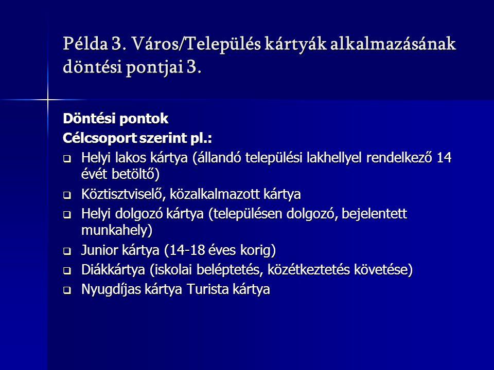 Példa 3. Város/Település kártyák alkalmazásának döntési pontjai 3.