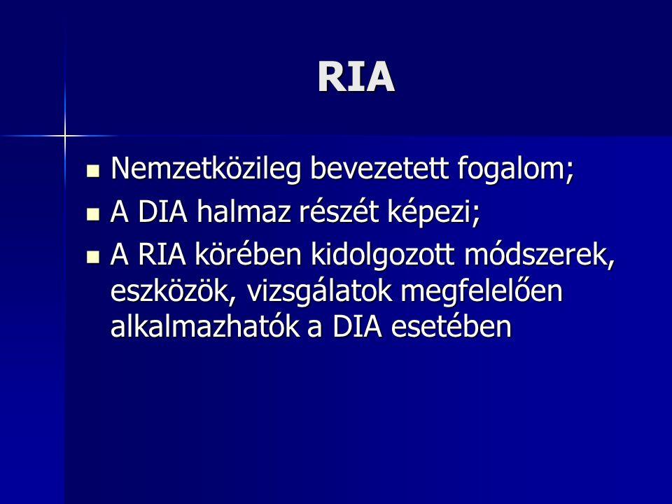 RIA Nemzetközileg bevezetett fogalom; A DIA halmaz részét képezi;