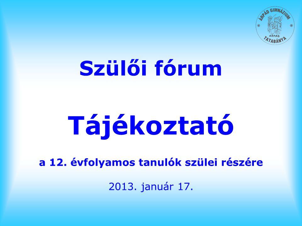 Szülői fórum Tájékoztató a 12. évfolyamos tanulók szülei részére 2013