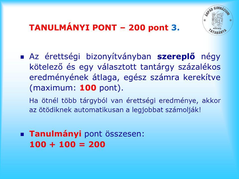 TANULMÁNYI PONT – 200 pont 3.