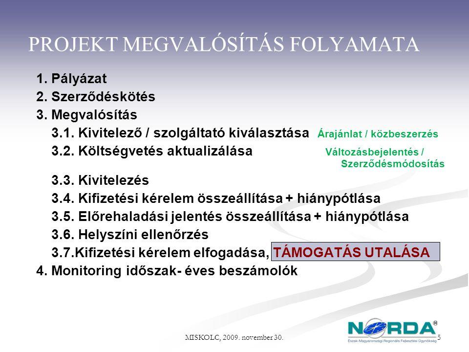 PROJEKT MEGVALÓSÍTÁS FOLYAMATA