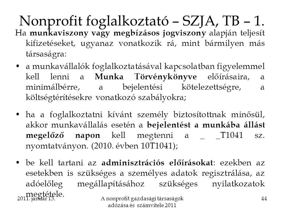 Nonprofit foglalkoztató – SZJA, TB – 1.