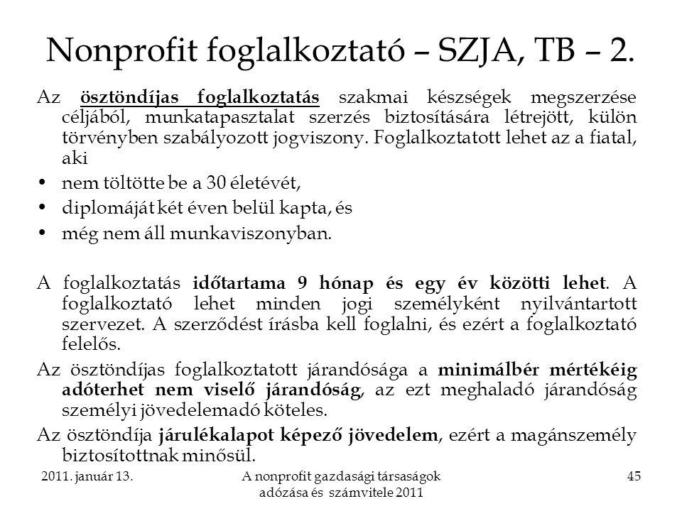 Nonprofit foglalkoztató – SZJA, TB – 2.