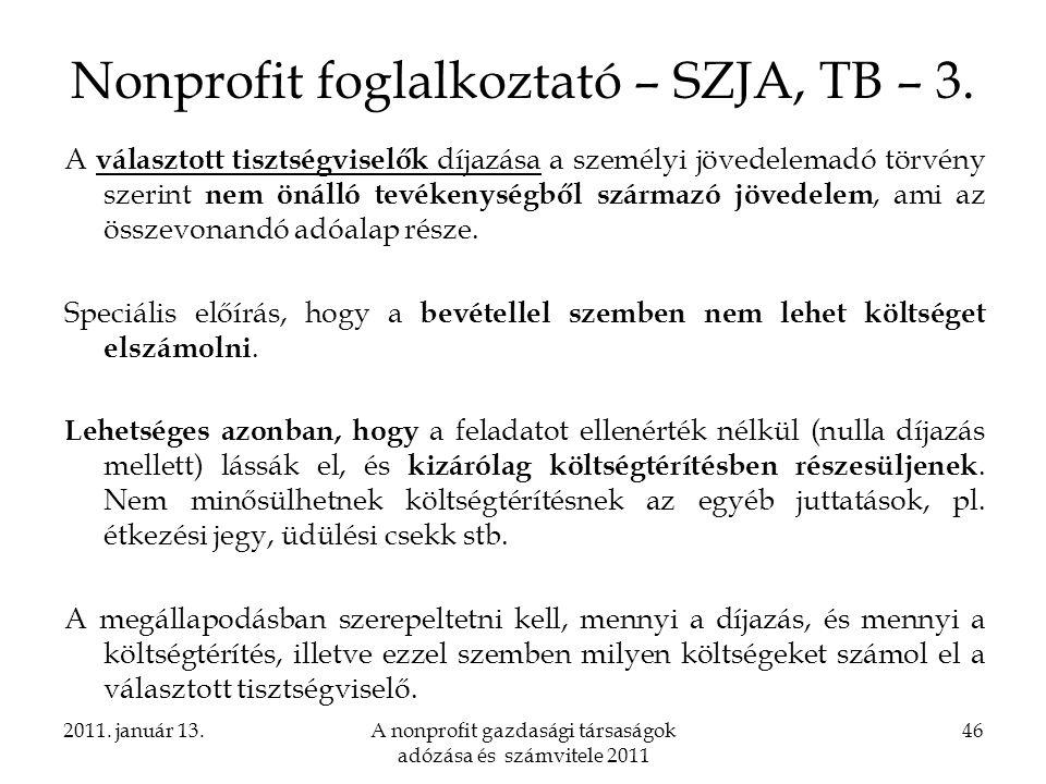Nonprofit foglalkoztató – SZJA, TB – 3.