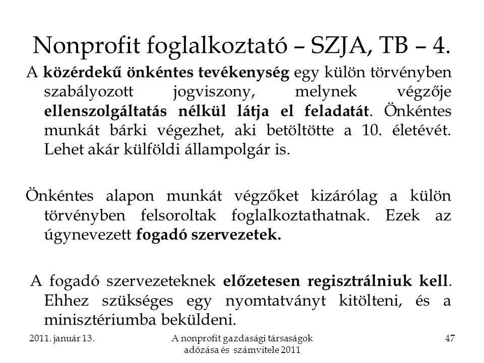 Nonprofit foglalkoztató – SZJA, TB – 4.