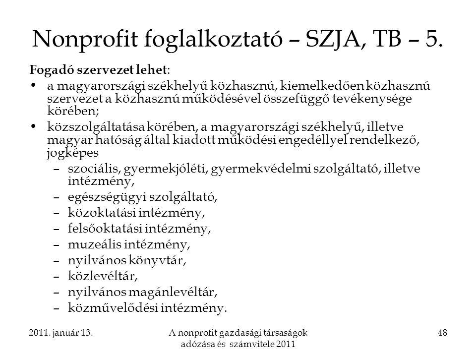 Nonprofit foglalkoztató – SZJA, TB – 5.