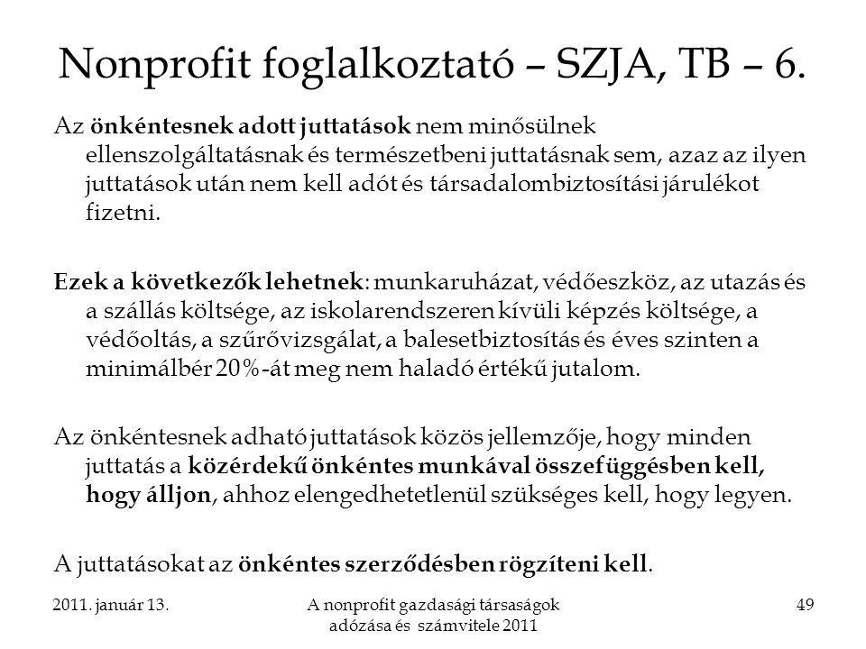 Nonprofit foglalkoztató – SZJA, TB – 6.