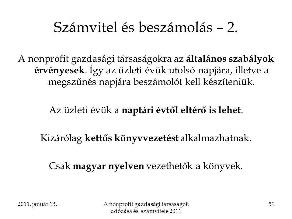 Számvitel és beszámolás – 2.