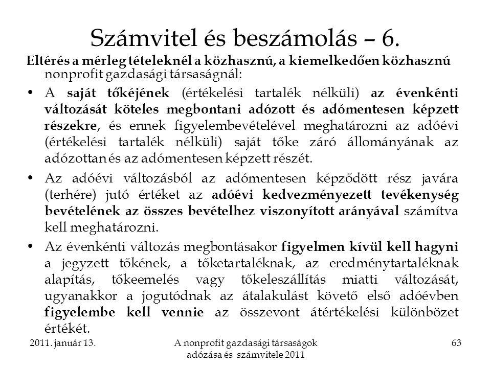 Számvitel és beszámolás – 6.