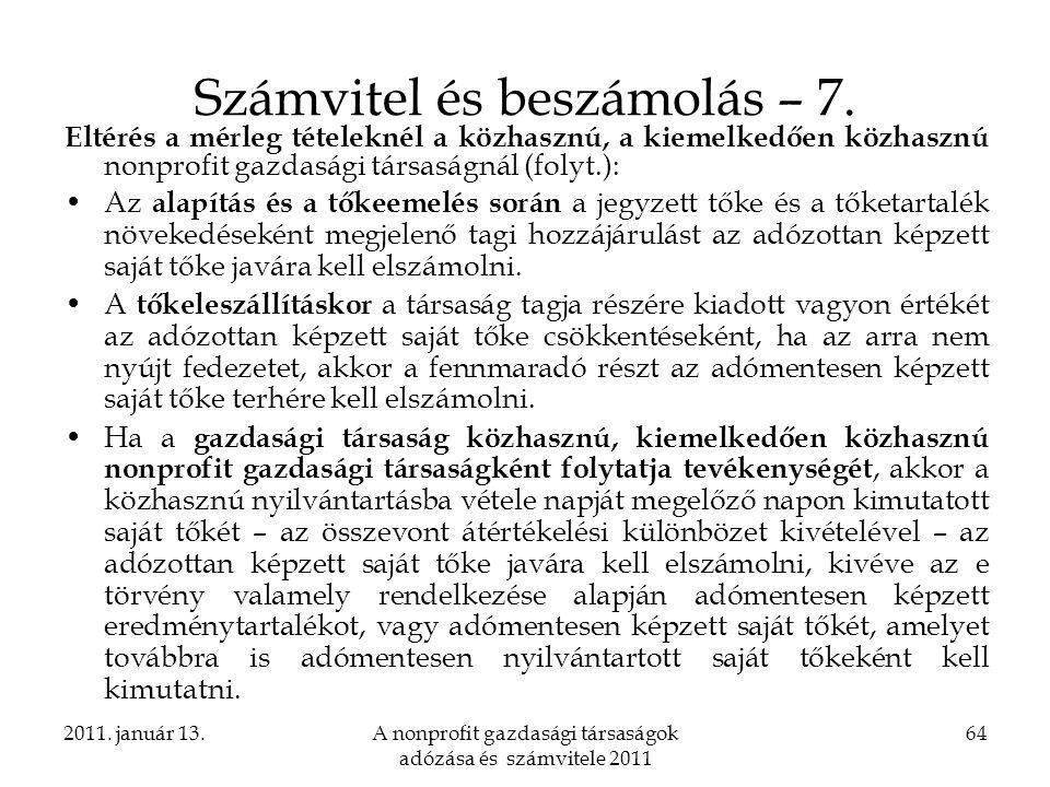 Számvitel és beszámolás – 7.