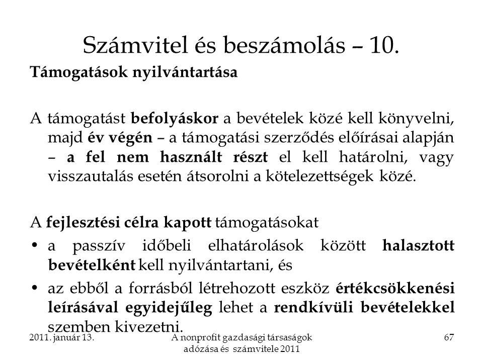 Számvitel és beszámolás – 10.