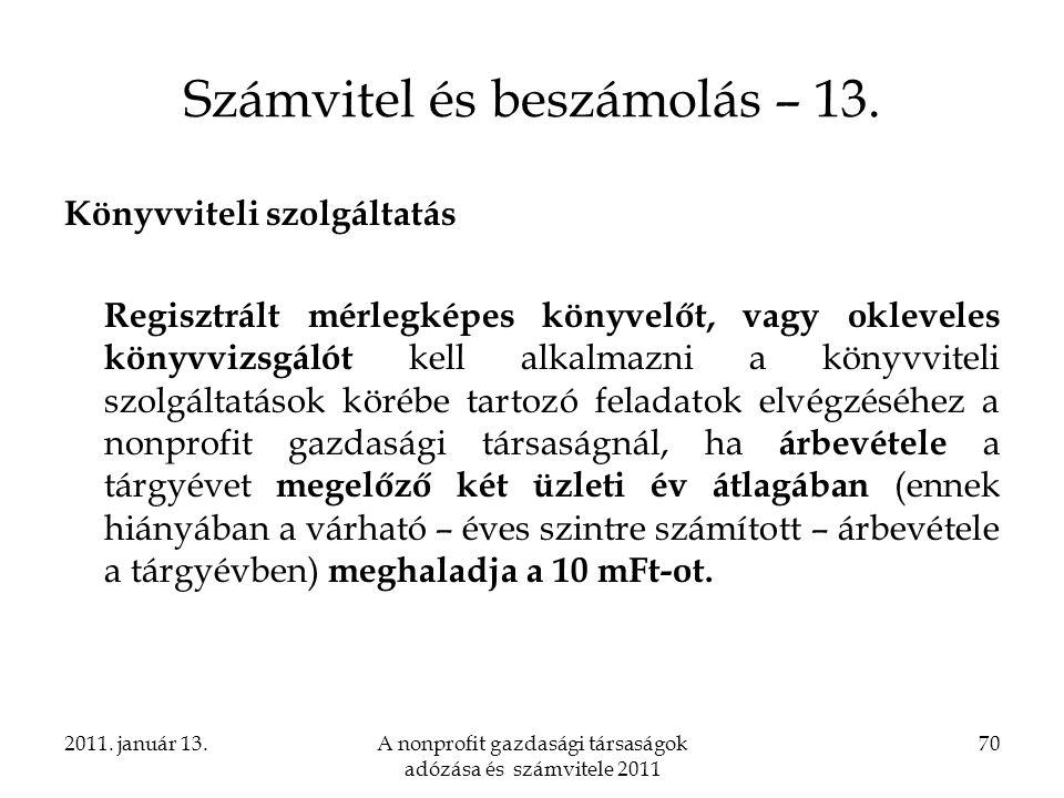 Számvitel és beszámolás – 13.