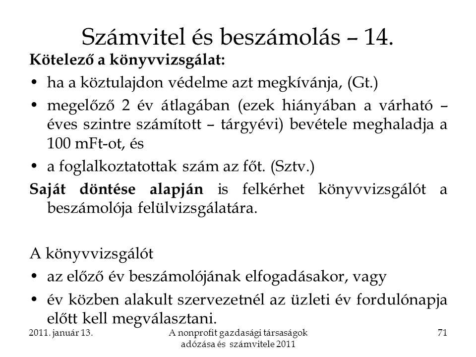 Számvitel és beszámolás – 14.