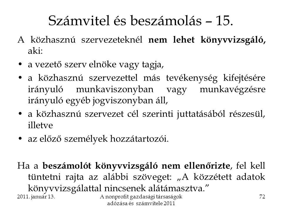 Számvitel és beszámolás – 15.