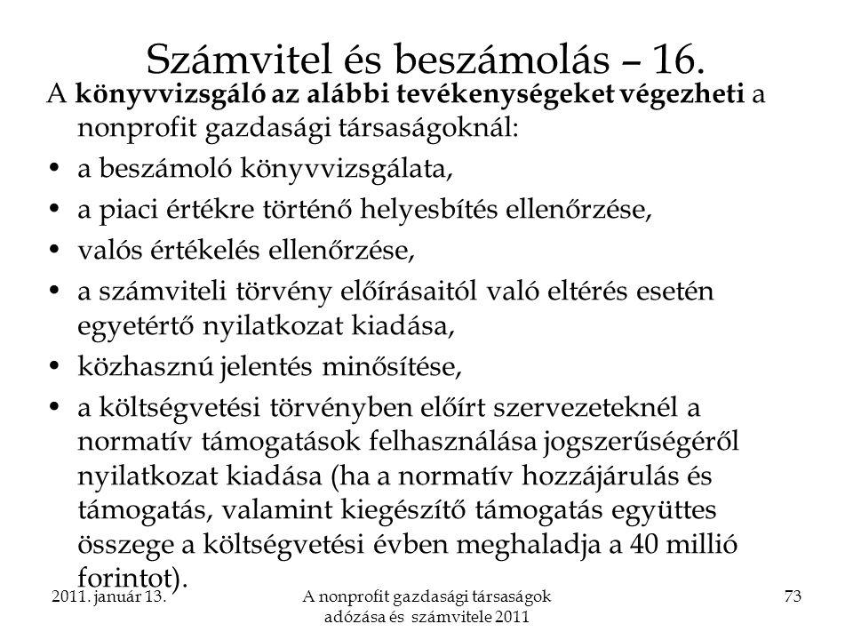 Számvitel és beszámolás – 16.
