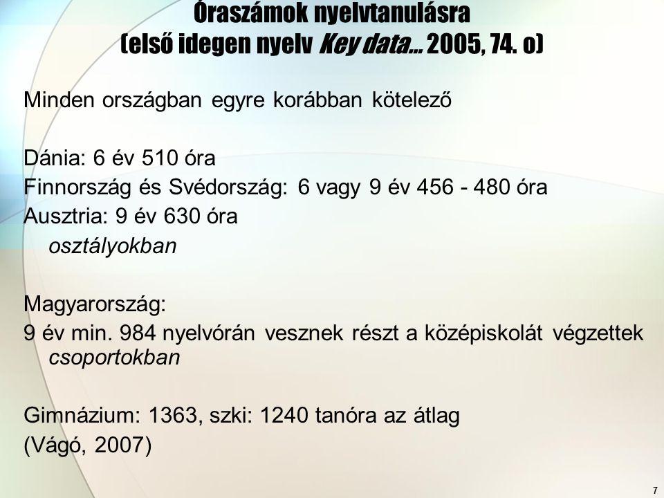 Óraszámok nyelvtanulásra (első idegen nyelv Key data… 2005, 74. o)