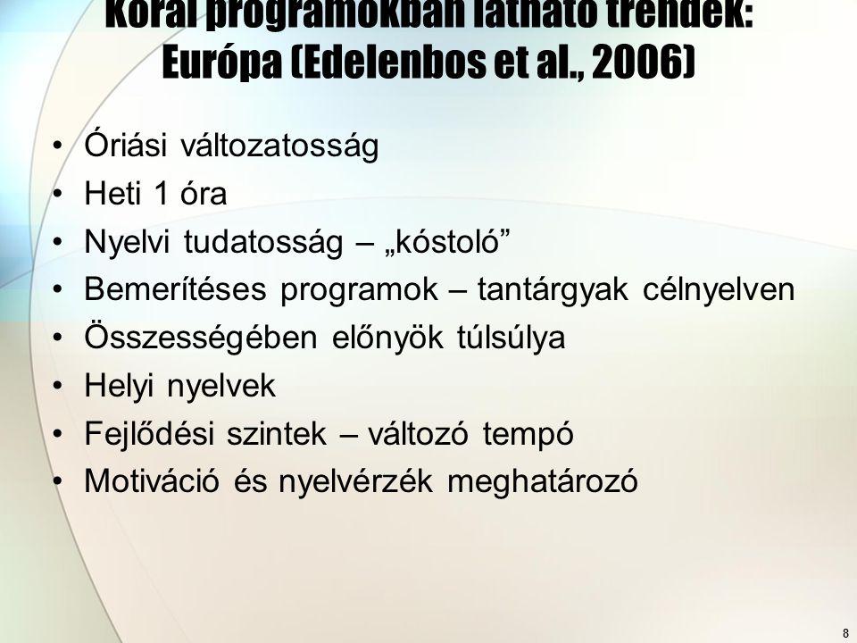Korai programokban látható trendek: Európa (Edelenbos et al., 2006)