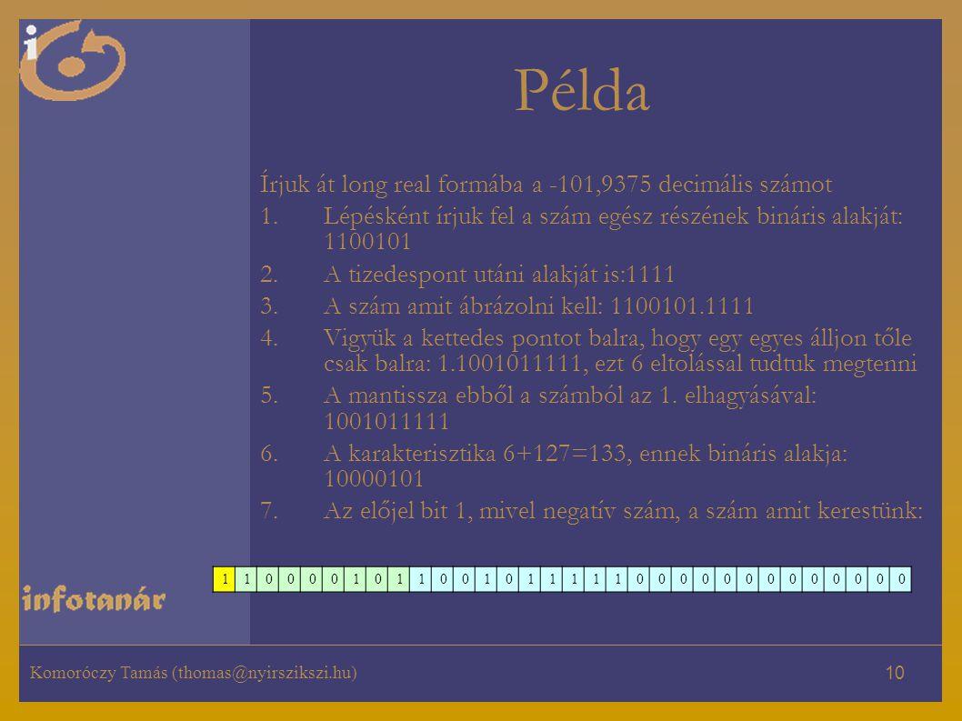 Példa Írjuk át long real formába a -101,9375 decimális számot