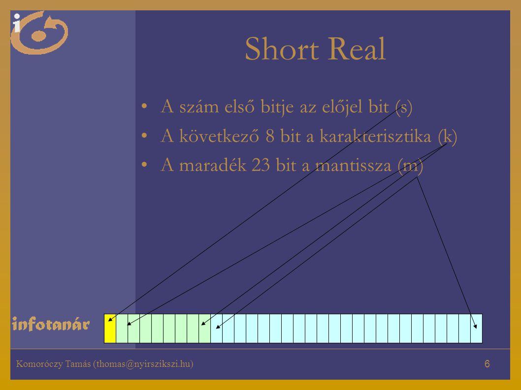 Short Real A szám első bitje az előjel bit (s)