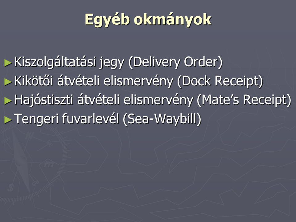 Egyéb okmányok Kiszolgáltatási jegy (Delivery Order)