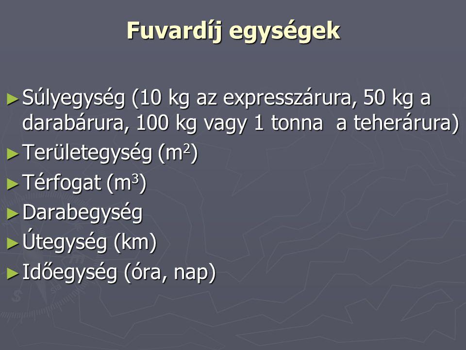Fuvardíj egységek Súlyegység (10 kg az expresszárura, 50 kg a darabárura, 100 kg vagy 1 tonna a teherárura)