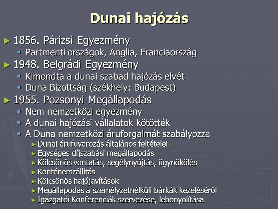 Dunai hajózás 1856. Párizsi Egyezmény 1948. Belgrádi Egyezmény