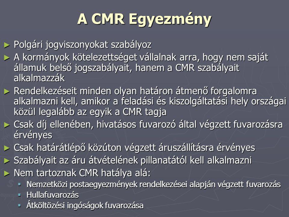 A CMR Egyezmény Polgári jogviszonyokat szabályoz