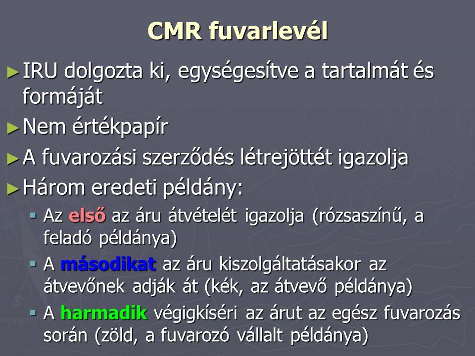 CMR fuvarlevél IRU dolgozta ki, egységesítve a tartalmát és formáját