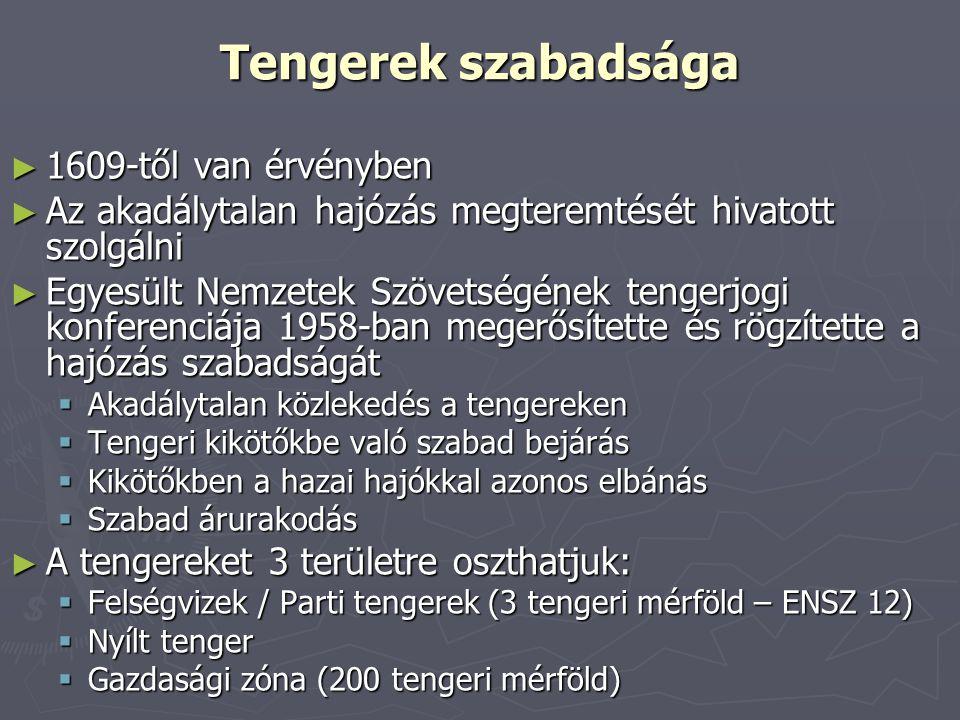 Tengerek szabadsága 1609-től van érvényben