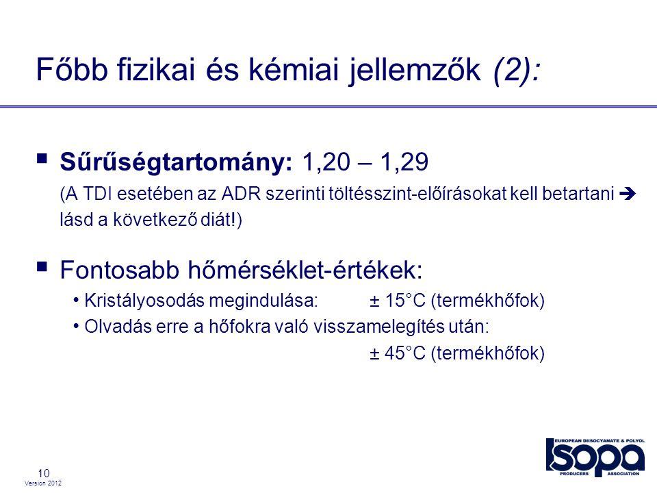 Főbb fizikai és kémiai jellemzők (2):