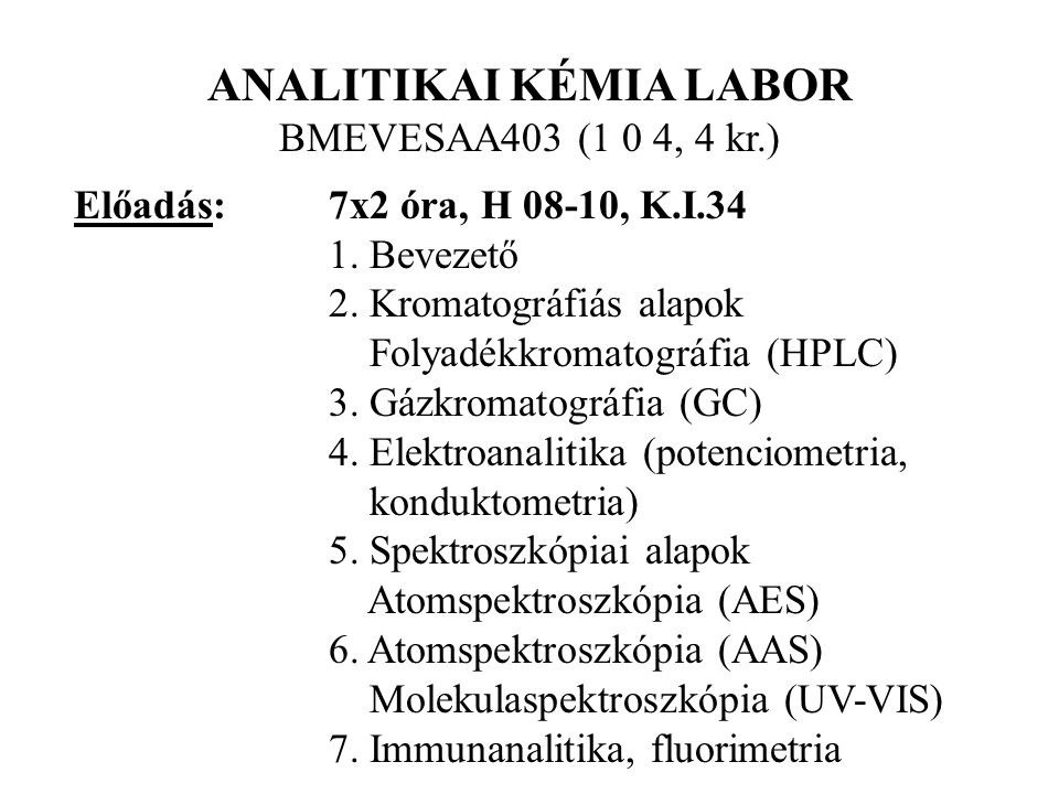 ANALITIKAI KÉMIA LABOR