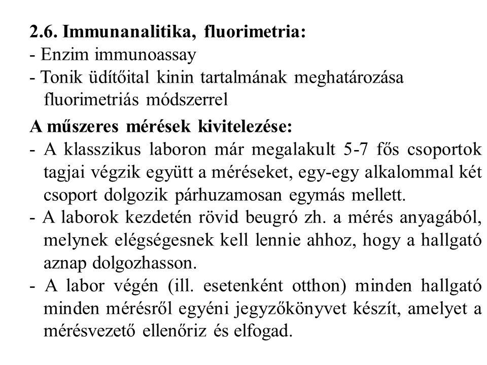 2.6. Immunanalitika, fluorimetria: