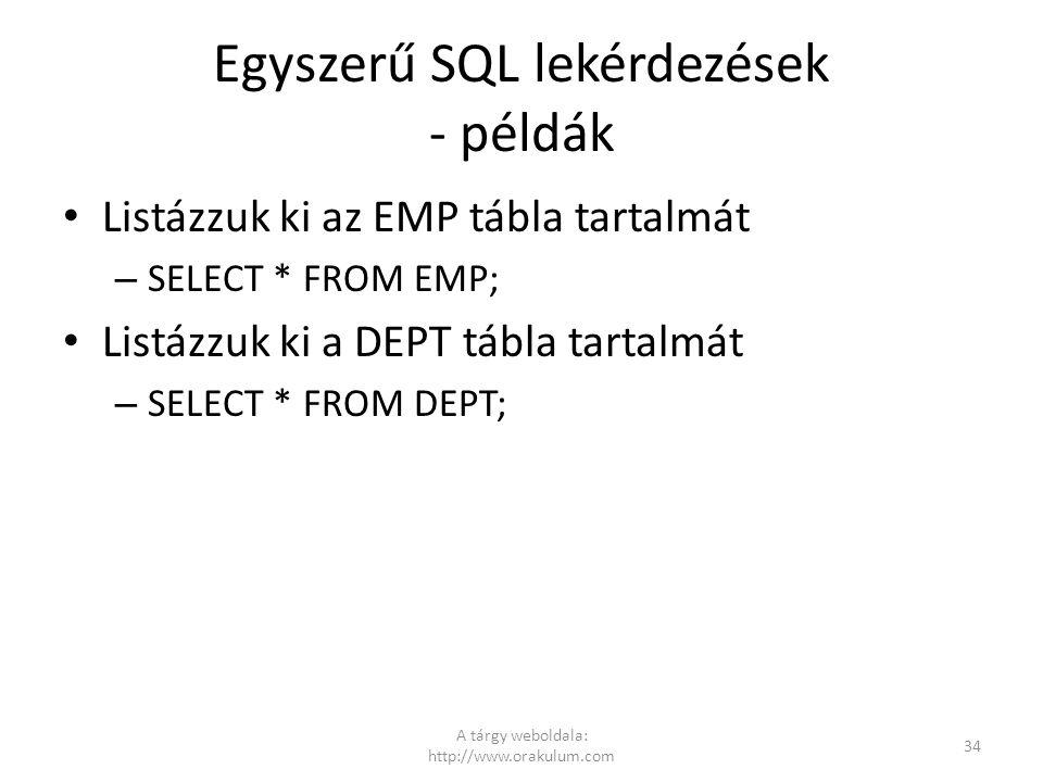 Egyszerű SQL lekérdezések - példák